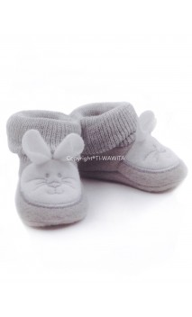 "Chaussons ""Lapin"" gris/blanc"