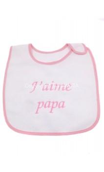 """Bavoir """"j'aime papa"""" rose"""