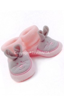 "Chaussons ""Lapin"" rose/gris"