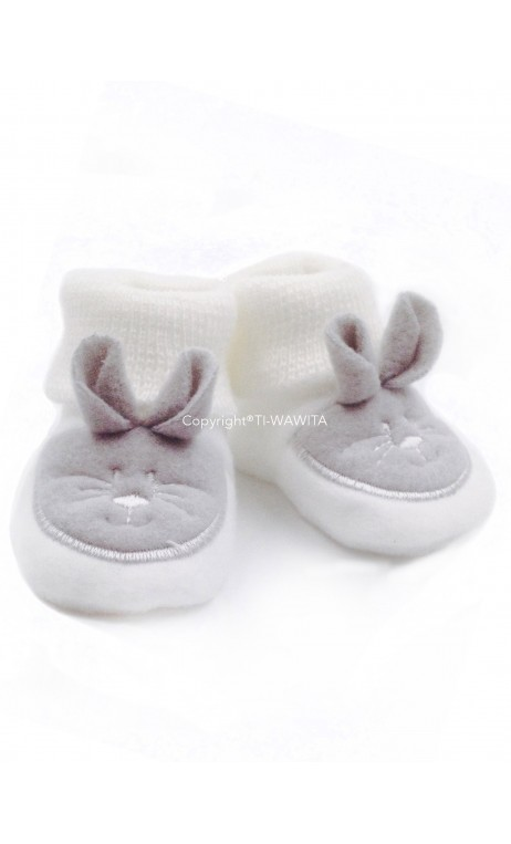 "Chaussons ""Lapin"" blanc/gris"
