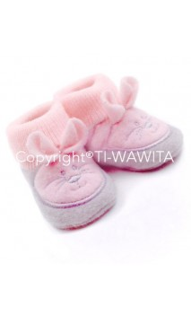"Chaussons ""Lapin"" gris/rose"