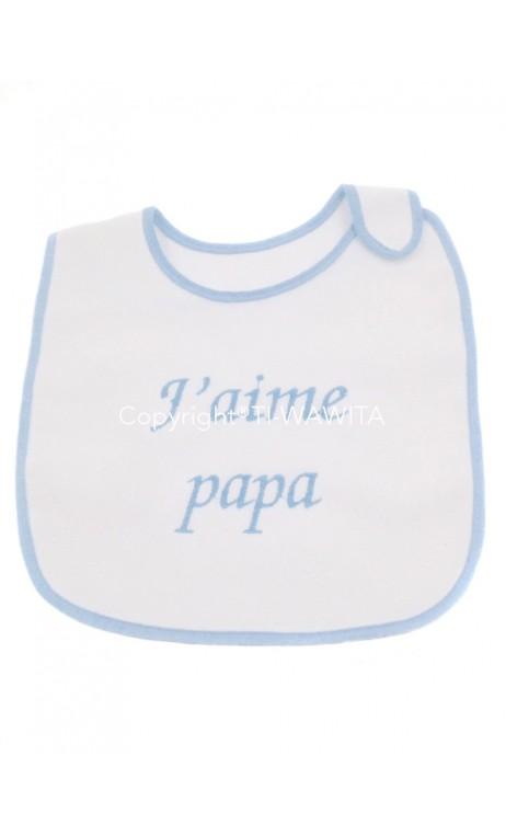 """Bavoir """"j'aime papa"""" bleu"""